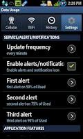 Screenshot of Data Usage