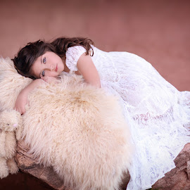Daydreamer by Katie Andelman Garner - Babies & Children Child Portraits ( child, girl, bunny, beautiful, blue eyes, pretty )