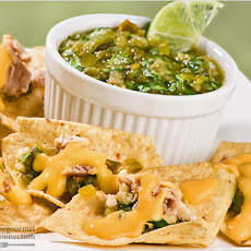 Cheesy Chicken Nachos with Roasted Salsa Verde