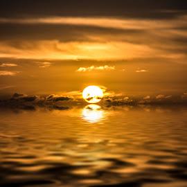 Sunrise reflection on North Sea by Lee Black - Landscapes Sunsets & Sunrises ( water, scotland, orange, sunsrise, reflection, rise, sea, reflections, north, sun,  )