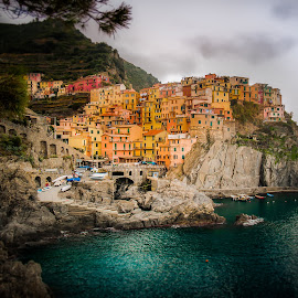 Love of Italia by Sheldon Anderson - City,  Street & Park  Vistas ( water, hillside, blue, bay, chinque terre, city scapes, italy )