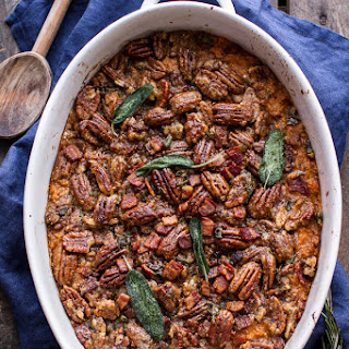 Bourbon Sweet Potato Casserole with Sweet 'n' Savory Bacon Pecans.