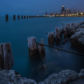 by Joshua Williams - City,  Street & Park  Skylines ( water, skyline, lake michigan, night, chicago, landscape, foreground )