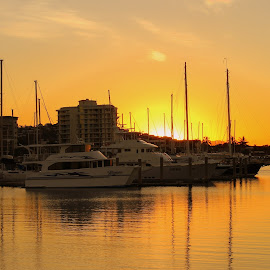 Harbour Sunset by Helen Beggs - Transportation Boats