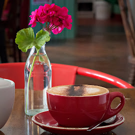 red cup by Vibeke Friis - Food & Drink Alcohol & Drinks ( red cup, cappuccino, drink, coffee, hot, flower, glass bottle,  )