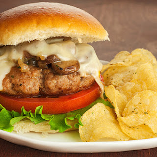 Sherry-Braised Turkey and Mushroom Burgers