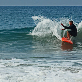 Surfer At Newport by Jeannine Jones - Sports & Fitness Surfing