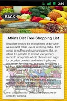 Screenshot of Atkins Diet Free Shopping List