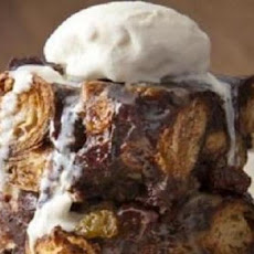 White and Dark Chocolate Bread Pudding with Irish Cream Sauce