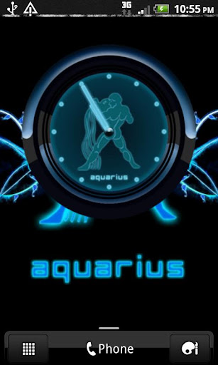 AQUARIUS - Neon Blue Clock