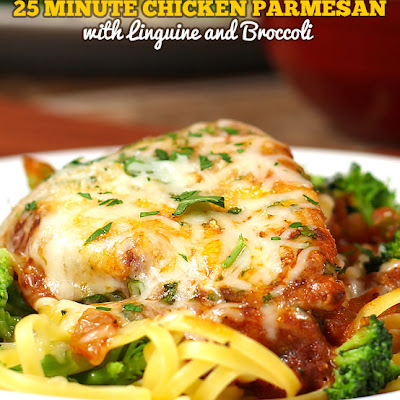 Chicken Parmesan with Linguine and Broccoli