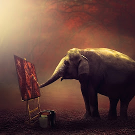 Hobbi-Ku by Sakura Art - Digital Art Animals ( elephnat       paint     canvas        lanscape    sunrise )