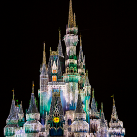 Magic Kingdom Castle by Jason Hepler - Travel Locations Landmarks ( lights, disney world, florida, magic kingdom, christmas, orlando, disney )