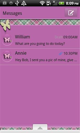 GO SMS THEME PlaidButterflys4