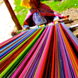 Weaving blankets at a market in Qenqo by Tyrell Heaton - Artistic Objects Clothing & Accessories