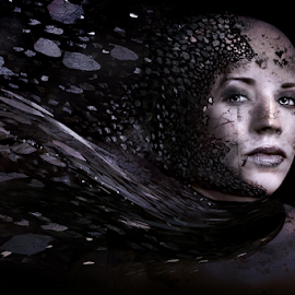 broken heart by Iva Petrović - Digital Art People ( woman girl sadness breaking bits despair lips metal disappointment silent solitude )