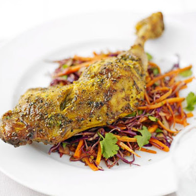 Easy Indian chicken with coleslaw