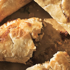 Beef Pasties with Caramelized Onions and Stilton Cheese