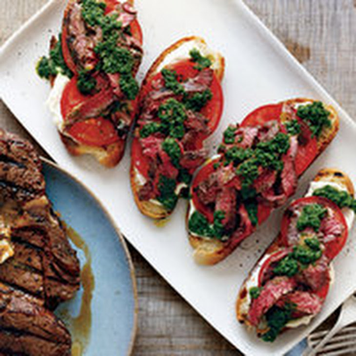 Open-Face Chimichurri Skirt Steak Sandwiches Recipe | Yummly