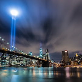 9/11 Candles by Mo Harrim - City,  Street & Park  Skylines ( water, clouds, reflection, skyline, memorial, cityscape, nyc, new york, tribute, landscape, city, sky, night, long exposure, light )