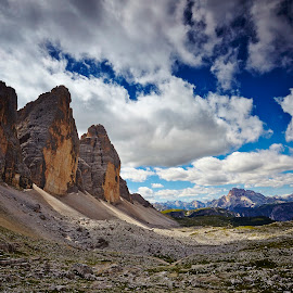 Three Peaks of Lavaredo by Andrea Papaleo Ph - Landscapes Mountains & Hills ( clouds, hills, mountains, blue sky, mountain, summer, landscape )