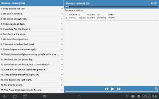 Screenshot of Anglické nepravidelné slovesá