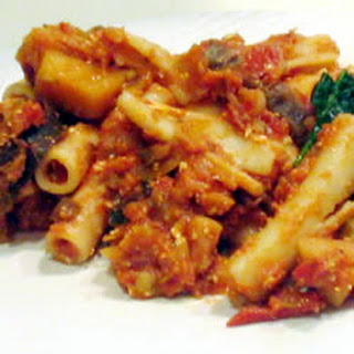 Rigatoni with Eggplant, Mushrooms and Goat Cheese