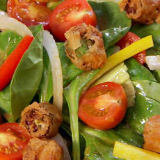 Garden Salad with Fried Okra Croutons