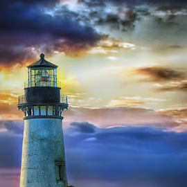Yaquina Sunset by Nickel Plate Photographics - Buildings & Architecture Public & Historical