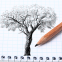 Pencil Drawing Tree icon