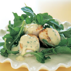 Seared Scallops with Roasted-Garlic Sabayon