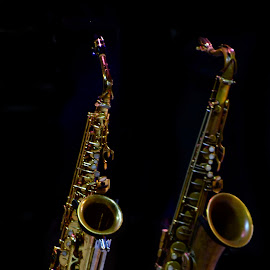 Saxos en silencio by Lidia Noemi - Artistic Objects Musical Instruments ( notas, musica, noche, saxos,  )
