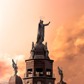 Roof of Montreal by Guillaume Fournier Viau - Buildings & Architecture Statues & Monuments ( roof, orange, montreal, statue, building, sky, sunset, architecture )
