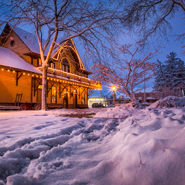 The Old depot sees its first snow of the year by Nick Page - Buildings & Architecture Public & Historical ( historic depot, train depot, snow scene, snow, winter, cold )