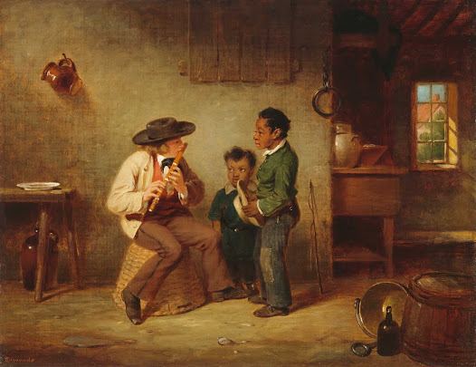 Painted on the eve of the Civil War, Francis Edmonds lovingly captured an older white child playing the flute for two younger black boys who listen intently to his music. The quiet dignity of this shared moment suggests Edmonds's call for peace at a formidable juncture in history.
