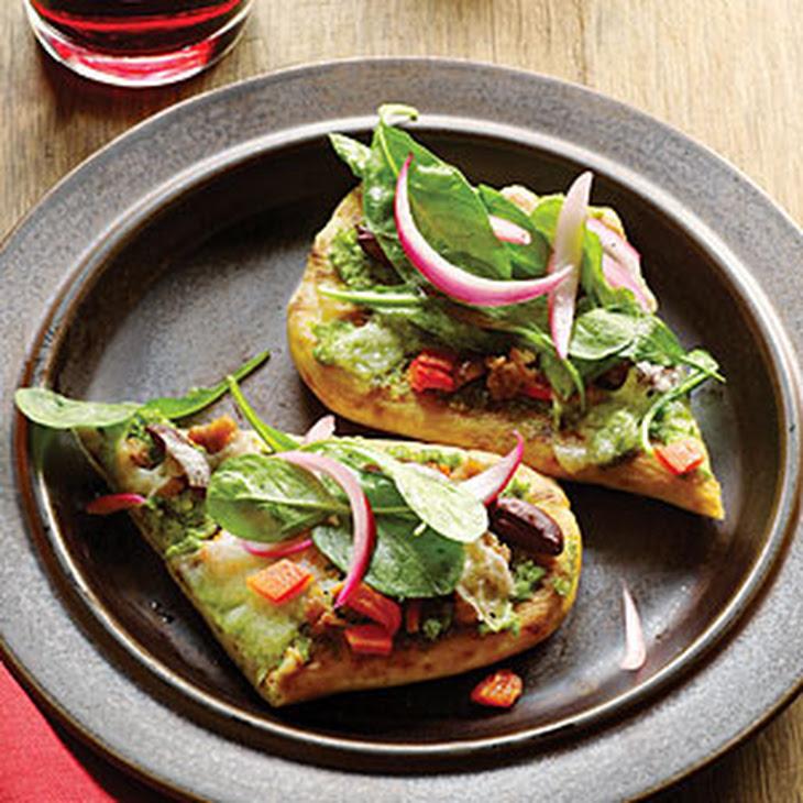 Naan Pizzas with Broccoli Pesto and Arugula Salad Recipe | Yummly