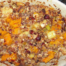 Butternut Squash Gratin With Aged Gouda And Toasted Hazelnut Topping