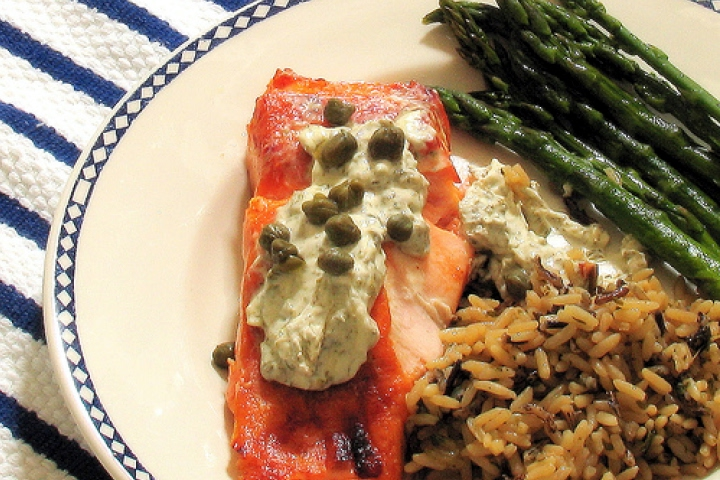 Salmon with Roasted Asparagus and Lemon-Caper Sauce