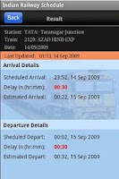 Screenshot of Indian Railway Schedule