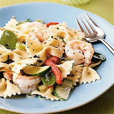 Farfalle with Shrimp, Snow Peas, and Ginger-Sesame Dressing