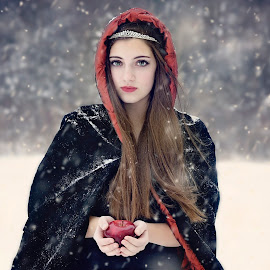 Red Apple by Darya Morreale - People Portraits of Women ( red apple, winter, snow, hooded cape, beautiful girl )