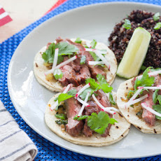 "Grilled Steak Tacos with Roasted Salsa Verde & Black Quinoa ""Pilaf"""