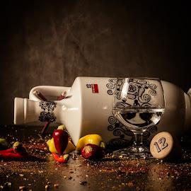 Ouzo&pepers by Wojtek Guzikowski - Food & Drink Alcohol & Drinks ( cork, ouzo, guzikowsi, glass, botlle, pepers, spices )