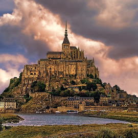 On The Coast of Normandy by Lanis Rossi - Buildings & Architecture Places of Worship ( church, couesnon river, monastery, france, mont saint-michel, coastal, normandy, abbey, island,  )