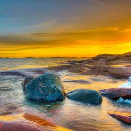 Stones by Kaj Andersson - Digital Art Places ( ice, twilight, sea, stones, wall )