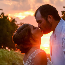 Our love is on fire! by Chris Wheeler - Wedding Bride & Groom ( kiss, wedding, sunset, fall, bride and groom,  )