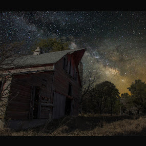 Barn III by Aaron Groen - Landscapes Nightscapes ( border added to fit and resized for pixoto, forgotten series, light painting, barn, pwcstars, stars, milky way stars, milky way )