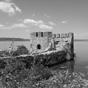 Golubac fortress by Irena Čučković - Buildings & Architecture Statues & Monuments ( black and white, fortress, serbia, danube, river )