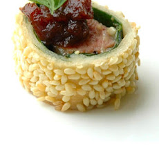 Fillet Of Lamb Wrapped In Spinach With A Sesame Crust