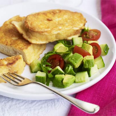 Cheesy Eggy Bread With Chunky Salad